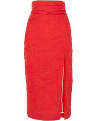 Carmen March - Woman Taffeta Midi Skirt Red - Lyst