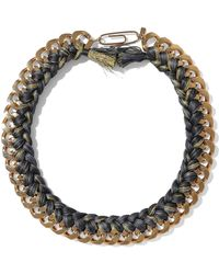 Aurelie Bidermann - Aurélie Bidermann Woman Brasil Gold-tone Braided Cord Necklace Charcoal - Lyst