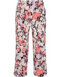 Agnona - Floral-print Silk-blend Crepe De Chine Culottes - Lyst