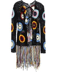 Talitha - Woman Fringed Crocheted Cotton Jacket Black - Lyst