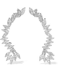 CZ by Kenneth Jay Lane - Silver-tone Crystal Clip Earrings - Lyst