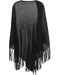 Autumn Cashmere - Fringed Open-knit Cardigan - Lyst