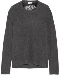 A.L.C. - Peter Cutout Ribbed Merino Wool And Cashmere-blend Jumper Dark Green - Lyst