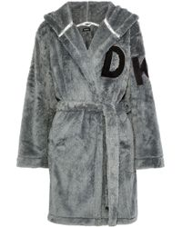 DKNY - Woman Appliquéd Fleece Hooded Robe Anthracite - Lyst