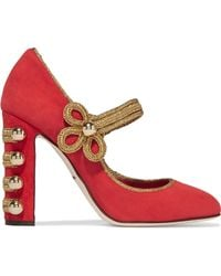 Dolce & Gabbana - Embellished Suede Court Shoes - Lyst