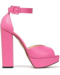 Charlotte Olympia - Eugenie Pebbled-leather Platform Sandals - Lyst