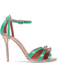 Malone Souliers - Embellished Metallic Leather And Satin Sandals - Lyst