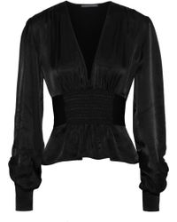 23340f6209575 ALEXACHUNG - Woman Shirred Satin-crepe Blouse Black - Lyst