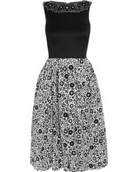 Holly Fulton - Embellished Wool And Printed Silk-Crepe Dress - Lyst