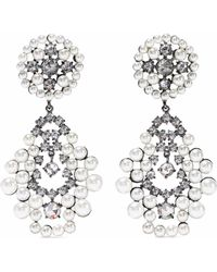 CZ by Kenneth Jay Lane - Woman Gunmetal-tone, Faux Pearl And Crystal Earrings Silver - Lyst
