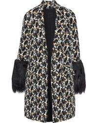 Anna Sui - Woman Faux Fur-paneled Cotton-blend Jacquard Jacket Black - Lyst