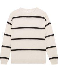 Brunello Cucinelli | Embellished Striped Cashmere Jumper | Lyst