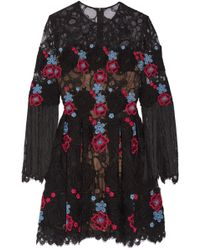 Elie Saab | Fringed Embroidered Cotton-blend Tulle Mini Dress | Lyst
