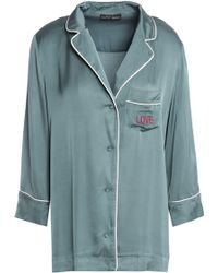 Love Stories - Embroidered Satin Pajama Top Grey Green - Lyst