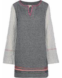 lemlem - Kito Striped Gauze-paneled Herringbone Cotton-blend Mini Dress - Lyst