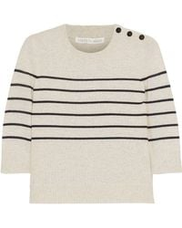 Veronica Beard - Knot Mariner Oxford-paneled Striped Silk And Cashmere-blend Top Ivory - Lyst