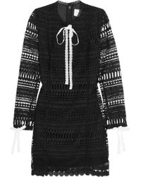 Alexis - Braelynn Bow-embellished Embroidered Cady Mini Dress - Lyst