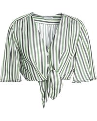 Sonia Rykiel - Cropped Knotted Striped Piqué Top - Lyst