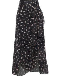 a22b6a9e764931 Ganni - Woman Tilden Floral-print Mesh Midi Wrap Skirt Black - Lyst
