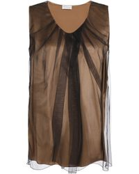 Brunello Cucinelli - Gathered Tulle And Stretch-silk Satin Top - Lyst