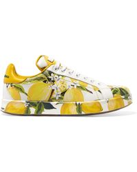 Dolce & Gabbana - Printed Leather Trainers - Lyst