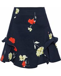 Nicholas - Babylon Floral-print Cotton-blend Twill Mini Skirt - Lyst