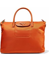 Prada - Leather-trimmed Shell Tote - Lyst