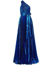 Elie Saab - Woman One-shoulder Plissé Silk-blend Lamé Gown Bright Blue - Lyst