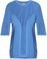 House of Dagmar - Paneled Cotton-blend Open-knit Sweater - Lyst