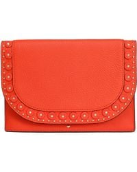 Kate Spade - Vita Madison Wagner Way Studded Textured-leather Clutch - Lyst