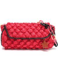 M Missoni - Leather-trimmed Crocheted Cotton-blend Shoulder Bag - Lyst