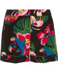 Valentino | Printed Silk Crepe De Chine Shorts | Lyst