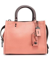COACH - Textured-leather Tote Antique Rose - Lyst