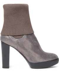 Hogan - Ribbed-paneled Metallic Textured-leather Ankle Boots - Lyst