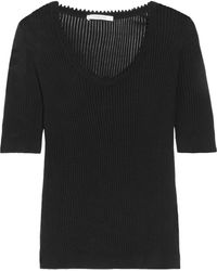 Carven - Ribbed Cotton And Silk-blend Sweater - Lyst