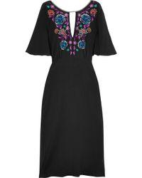 Matthew Williamson - Sakura Embroidered Silk Crepe De Chine Midi Dress - Lyst