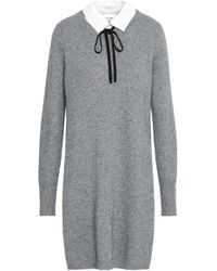 Joie - Pussy-bow Wool And Cashmere-blend Mini Dress - Lyst