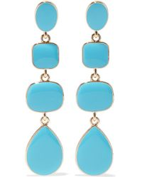 Kenneth Jay Lane - Woman Gold-tone Stone Earrings Turquoise - Lyst