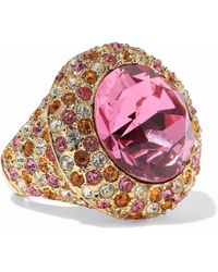 Kenneth Jay Lane - Woman Gold-tone Crystal Ring Pink - Lyst