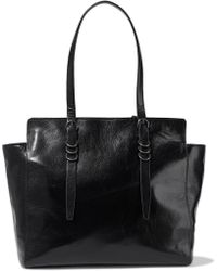 Halston - Glossed Textured-leather Tote - Lyst