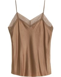 Vince - Lace-trimmed Silk-satin Top - Lyst