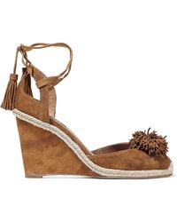 Aquazzura - Sunshine Pompom-embellished Suede Wedge Sandals - Lyst