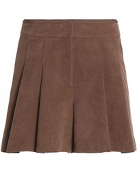 Halston - Skirt-effect Pleated Faux Suede Shorts Dark Brown - Lyst