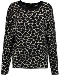 DKNY - Printed Stretch-knit Sweater - Lyst