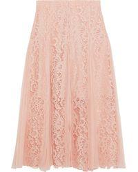 Sandro - Woman Polina Pleated Crepe De Chine-paneled Lace Midi Skirt Blush - Lyst