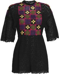 Valentino - Embroidered Guipure Lace Playsuit - Lyst