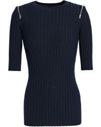 JOSEPH - Zip-detailed Ribbed Merino Wool-blend Sweater - Lyst