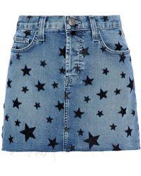 Current/Elliott - The Cut Off Flocked Denim Mini Skirt Mid Denim - Lyst