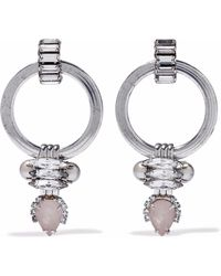 Elizabeth Cole - Woman Silver-tone, Crystal, Stone And Faux Pearl Earrings Platinum - Lyst
