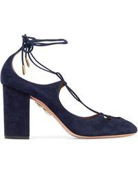 Aquazzura - Dancer Cutout Lace-up Suede Court Shoes Midnight Blue - Lyst